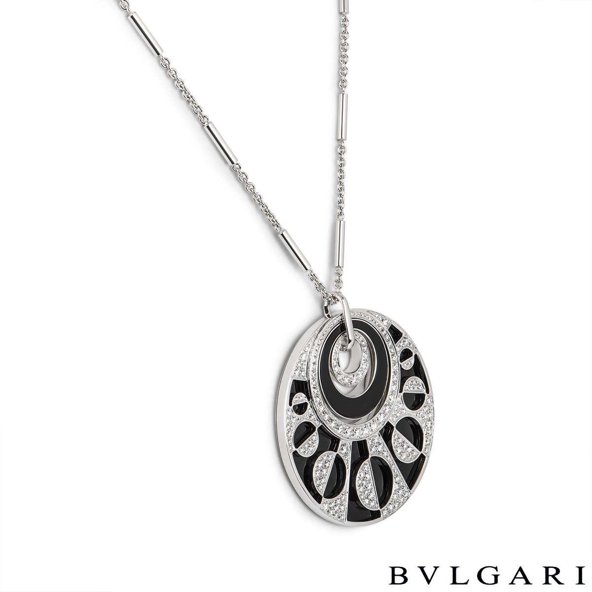 Bvlgari White Gold Diamond & Onyx Intarsio Large Necklace